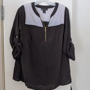 Lane Bryant black and white zippered top